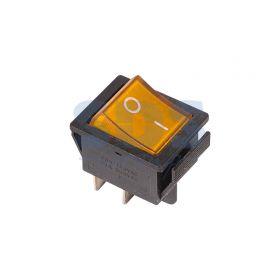 Желтый клавишный выключатель 250В 16А (4с) ON-OFF с подсветкой (RWB-502, SC-767, IRS-201-1)