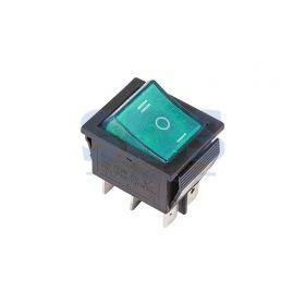 Зеленый клавишный выключатель 250В 15А (6с) ON-OFF-ON с подсветкой и нейтралью  (RWB-509, SC-767)