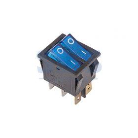 Синий двойной клавишный выключатель 250В 15А (6с) ON-OFF с подсветкой (RWB-511, SC-767)